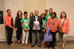"""Upward Bound students and MEOA members with Representative Jose Tosado"""